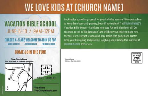 fun invitation vbs postcard - church postcards