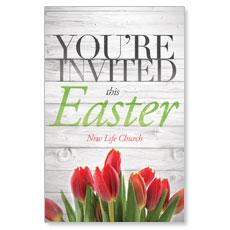 Easter Invited Wood Postcard