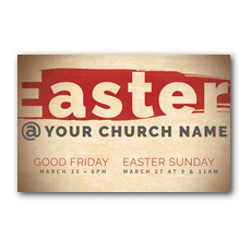 Easter At Red Brushstroke Postcard