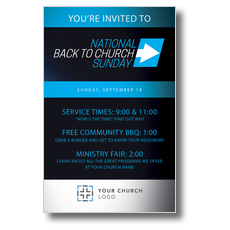 Back to Church Sunday Arrow Postcard