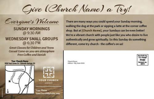 coffee invite postcard - church postcards