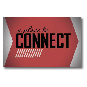 Place to Connect Red Postcards