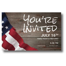 American Flag Invited Postcard