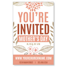 Flowers Invited Mothers Day Postcard