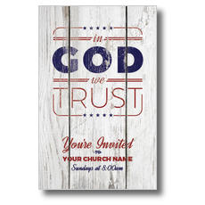 In God We Trust Wood Postcard