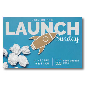 Paper Rocket Launch Postcards