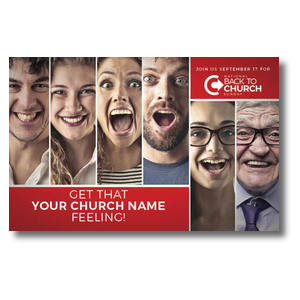 Back to Church Happy Faces Postcards