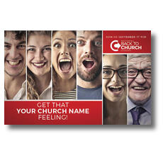 Back to Church Happy Faces Postcard