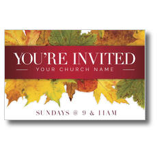 Leaves Youre Invited Postcard