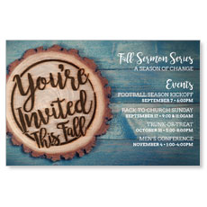 Wood Cut Fall Invited Postcard
