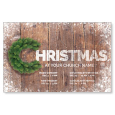 Christmas C Wreath Postcard