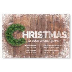 Christmas C Wreath Postcard