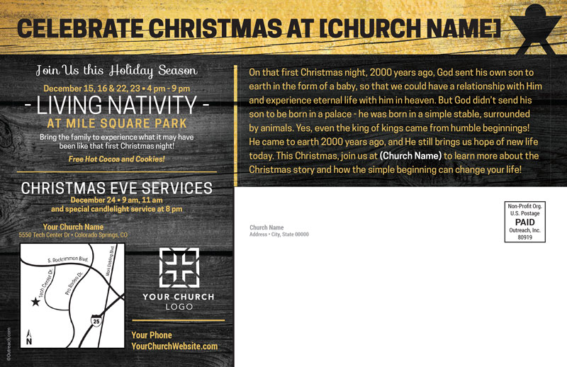 King Of Kings Wood Postcard Church Postcards Outreach Marketing