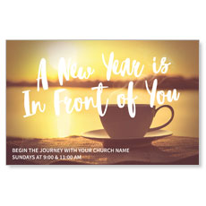New Year Coffee Cup Postcard