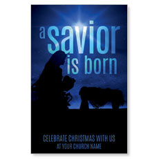 Blue Savior Born Postcard