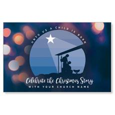 Unto Us Nativity Scene Postcard