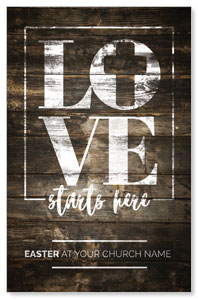 Love Starts Here Wood Postcards