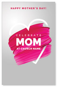 Mom Pink Paint Strokes Postcards