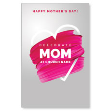 Mom Pink Paint Strokes Postcard