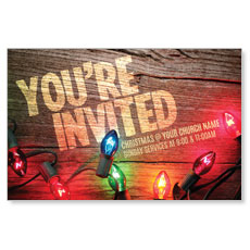 Invited Christmas Lights Postcard
