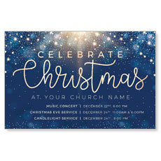 Blue Sparkles Christmas Postcard