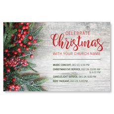 Christmas Branches and Berries Postcard