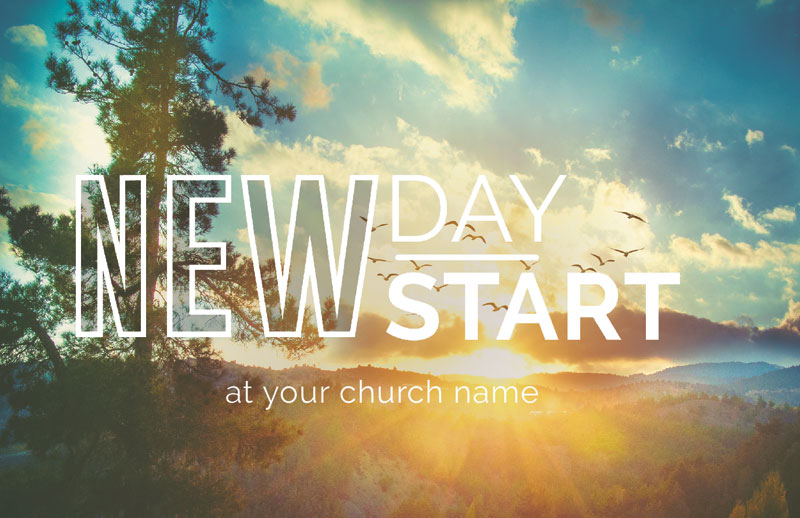 Church Postcards, New Years, New Day New Start, 5.5 X 8.5