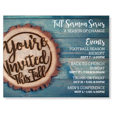 Wood Cut Fall Invited InviteCard