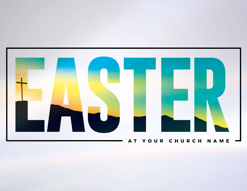 Bold Easter Calvary Hill InviteCard - Church Invitations - Outreach Marketing