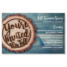 Wood Cut Fall Invited InviteCard