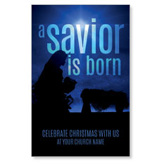 Blue Savior Born InviteCard