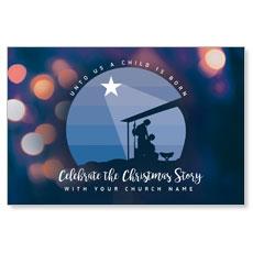 Unto Us Nativity Scene InviteCard