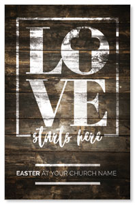 Love Starts Here Wood Medium InviteCards