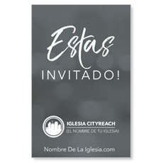 CityReach Blurred Gray Invited Spanish InviteCard