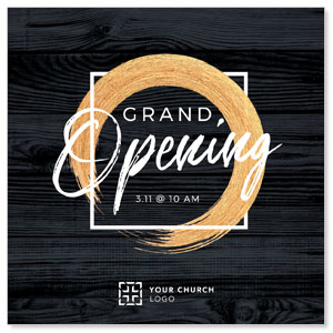 "Grand Opening Black Wood 4"" x 4"" Square InviteCards"