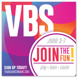 "Curved Colors VBS Join the Fun 4"" x 4"" Square InviteCards"