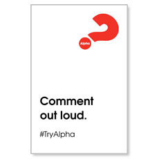 Alpha Comment Out Loud InviteCard
