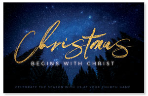 Night Sky Gold Script Christmas Medium InviteCards