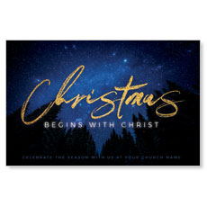 Night Sky Gold Script Christmas InviteCard