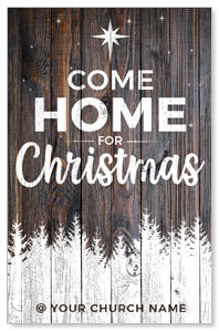 Dark Wood Christmas Come Home Medium InviteCards
