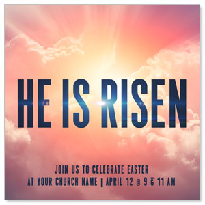 "He Is Risen Bold 4"" x 4"" Square InviteCards"