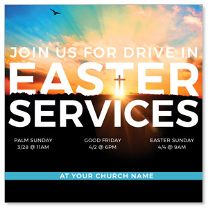 "Drive In Easter Services 4"" x 4"" Square InviteCards"