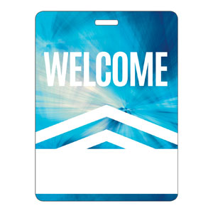 Chevron Welcome Blue Name Badges
