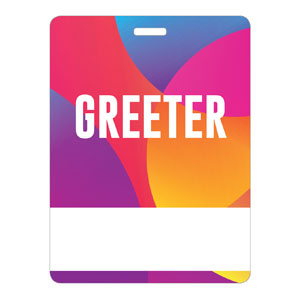 Curved Colors Greeter Name Badges