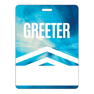 Chevron Blue Greeter Name Badges