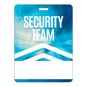 Chevron Blue Security Team Name Badges