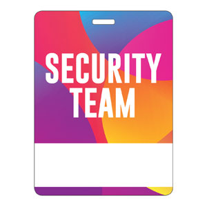 Curved Colors Security Team Name Badges