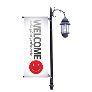 Pin Stripe Welcome Light Pole Banners