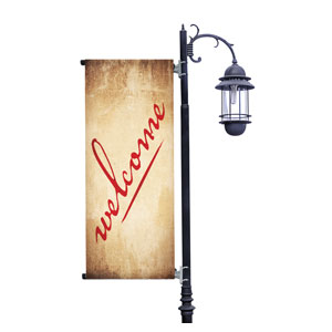 Red Script Welcome Light Pole Banners