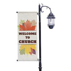 Stamped Leaves Light Pole Banners